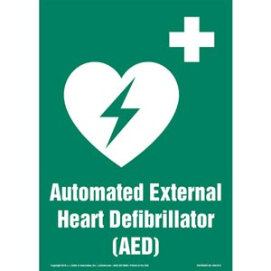 Automated External Heart Defibrillator (AED) Sign with Icon