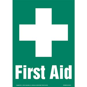 First Aid Sign with Icon - Portrait
