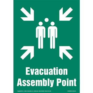 Evacuation Assembly Point Sign with Icon - Portrait