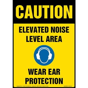 Caution: Elevated Noise Level Area, Wear Ear Protection Sign with Icon - OSHA