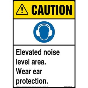 Caution: Elevated Noise Level Area, Wear Ear Protection Sign with Icon - ANSI
