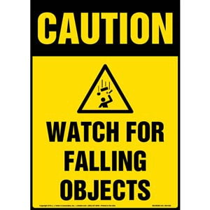 Caution: Watch For Falling Objects Sign with Icon - OSHA