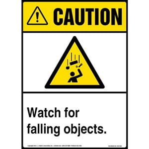 Caution: Watch For Falling Objects Sign with Icon - ANSI