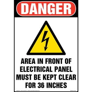 Danger: Area In Front Of Electrical Panel Must Be Kept Clear Sign with Icon - OSHA