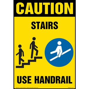 Caution: Stairs, Use Handrail Sign with Icons - OSHA, Portrait