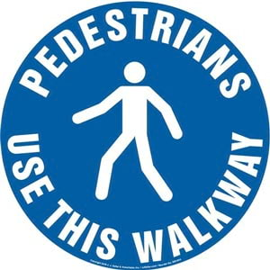 Pedestrians: Use This Walkway Sign with Icon - Round