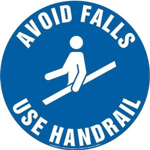 Avoid Falls, Use Handrail Sign with Icon - Round