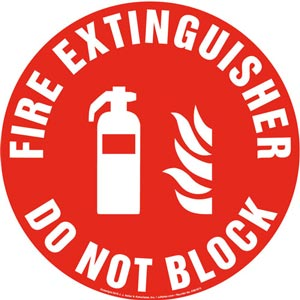 Fire Extinguisher, Do Not Block Sign with Icon - Round