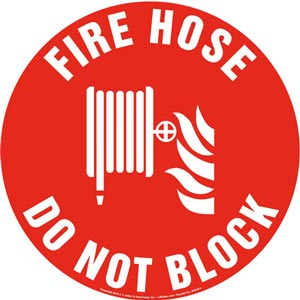 Fire Hose, Do Not Block Sign with Icon - Round