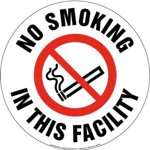 No Smoking In This Facility Sign with Icon - Round
