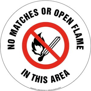 No Match or Open Flame In This Area Sign with Icon - Round