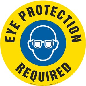 Eye Protection Required Sign with Icon - Round