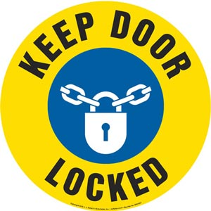 Keep Door Locked Sign with Icon - Round