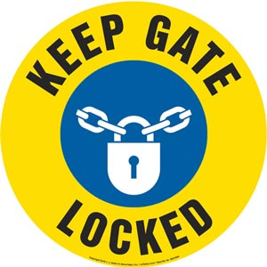 Keep Gate Locked Sign with Icon - Round