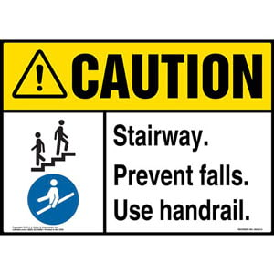 Caution: Stairway, Prevent Falls, Use Handrail Sign with Icons - ANSI