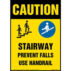 Caution: Stairway, Prevent Falls, Use Handrail Sign with Icons - OSHA