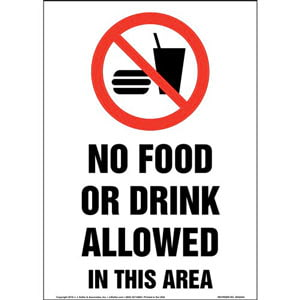 No Food Or Drink Allowed In This Area Sign with Icon