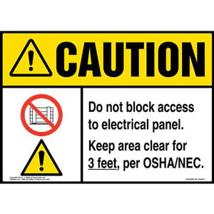 Caution: Do Not Block Electrical Panel, Keep Area Clear For 3 Ft. Sign with Icons - ANSI, Landscape