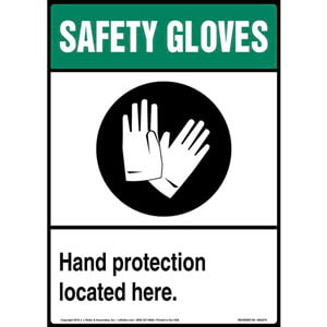 Safety Gloves: Hand Protection Located Here Sign with Icon