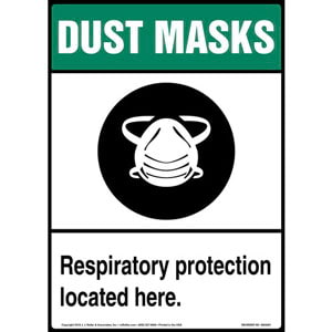 Dust Mask: Respiratory Protection Located Here Sign with Icon