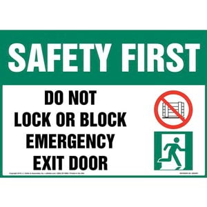 Safety First: Do Not Lock or Block Emergency Exit Door Sign with Icons - OSHA