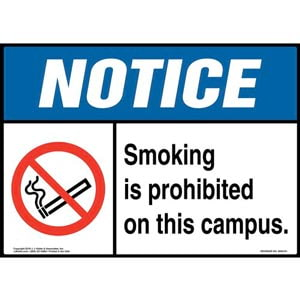 Notice: Smoking Is Prohibited on This Campus Sign with Icon - ANSI