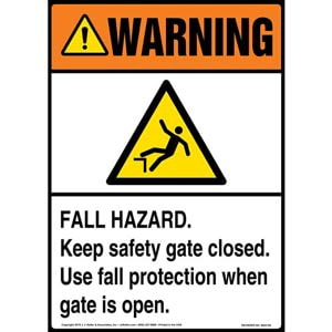 Warning: Fall Hazard, Keep Safety Gate Closed, Use Fall Protection When Gate Is Open Sign with Icon - ANSI