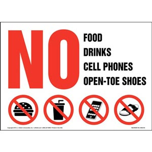 No Food, Drinks, Cell Phones, Open Toe Shoes Sign with Icon