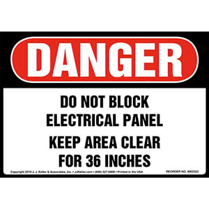 Danger: Do Not Block Electrical Panel, Keep Area Clear For 36 In. Label - OSHA