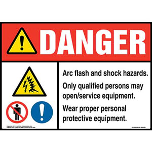 Danger: Arc Flash And Shock Hazards, Only Qualified Persons May Open/Service Equipment Sign with Icons - ANSI