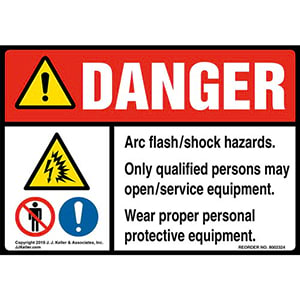 Danger: Arc Flash/Shock Hazards, Only Qualified Persons May Open/Service Equipment Label with Icons - ANSI