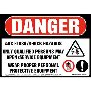 Danger: Arc Flash/Shock Hazards, Only Qualified Persons May Open/Service Equipment Label with Icons - OSHA
