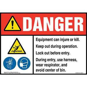 Danger: Equipment Can Injure Or Kill, Keep Out During Operation, Lock Out Before Entry Sign with Icons - ANSI