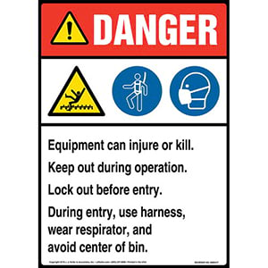 Danger: Equipment Can Injure Or Kill, Keep Out During Operation, Lock Out Before Entry Sign with Icons - ANSI, Long Format