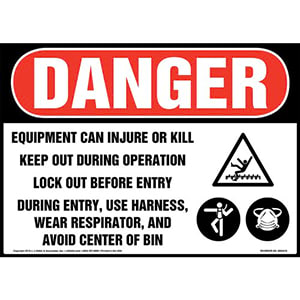 Danger: Equipment Can Injure Or Kill, Keep Out During Operation, Lock Out Before Entry Sign with Icons - OSHA