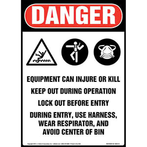 Danger: Equipment Can Injure Or Kill, Keep Out During Operation, Lock Out Before Entry Sign with Icons - OSHA, Long Format