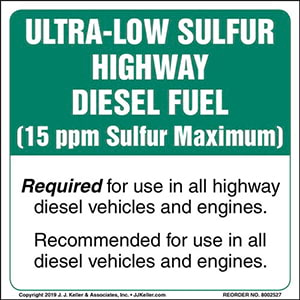 Ultra-Low Sulfur Highway Diesel Fuel Label