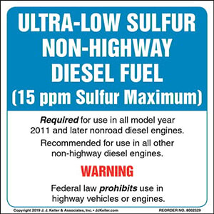 Ultra-Low Sulfur Non-Highway Diesel Fuel Label