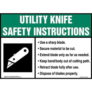 Utility Knife Safety Instructions Sign with Icon - ANSI