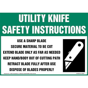 Utility Knife Safety Instructions Sign with Icon - OSHA
