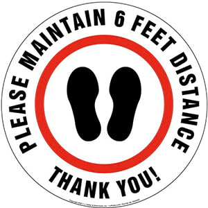 Please Maintain 6 Feet Distance with Thank You Floor Decal