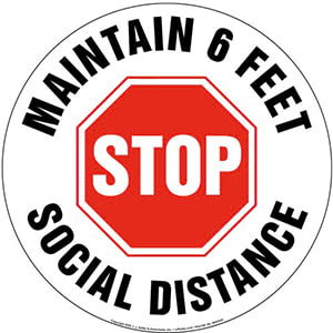 Stop and Maintain 6 Feet Social Distance Floor Decal