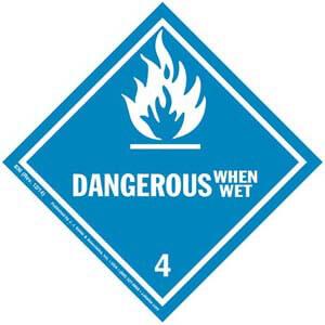 Hazardous Materials Labels - Class 4, Division 4.3 -- Dangerous When Wet - Paper, Roll