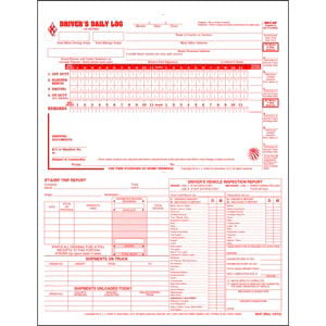 5-In-1 Driver's Daily Log, 2-Ply, Carbonless, Loose-Leaf Format - Stock