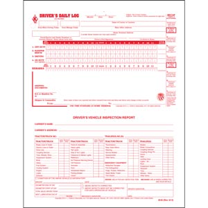 2-In-1 Driver's Daily Log, Loose-Leaf Format w/Detailed DVIR, 2-Ply, Carbonless, w/Recap - Stock