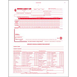 2-In-1 Driver's Daily Log Book w/Detailed DVIR, 2-Ply, w/Carbon, No Recap - Stock