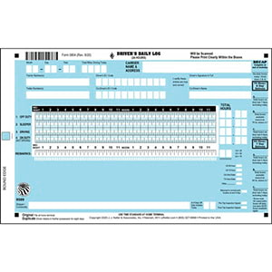 Scannable Driver's Daily Log Book - California & Texas Rule Set Logs, w/Recap - Stock