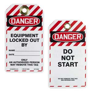 Double-Sided Lockout/Tagout Tag - Danger Do Not Start