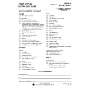 Truck Drivers' Pre-Trip Checklist