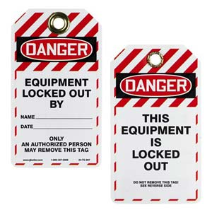 Double-Sided Lockout/Tagout Tag - This Equipment Is Locked Out